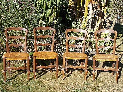 Vintage French Dining Chairs Kitchencountry Rustic Provincial Pretty Set Of 4