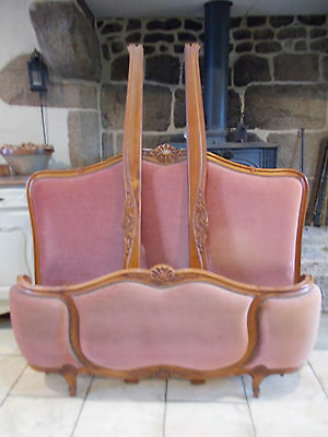 Vintage French Double Bed Demi Corbeille  Velvet Carved Siderails Deep Rose