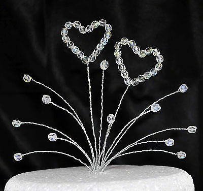 Crystal Double Heart Cake Topper -  Wedding/Birthday/Anniversary/Any Occasion