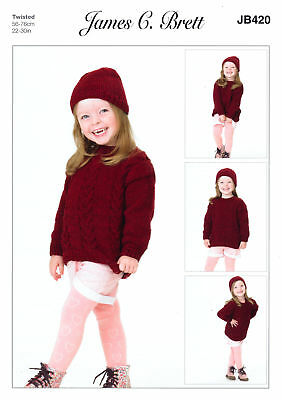 Girls Knitting Pattern Cabled Round Neck Sweater Jumper Hat James Brett JB420
