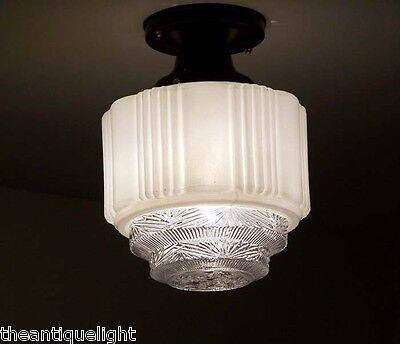 763b  Vintage 40s aRT DEco Ceiling Light Glass Lamp Fixture geometric 3 tiers