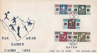 Q 2158 Qatar January 1966 First Day illustrated Cover; Pan Arab Games stamps