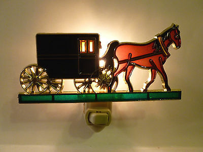 "Stain Glass Style - ""AMISH HORSE AND BUGGY""    NIGHT LIGHT"