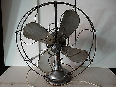 Antique hunter fan oscillating chrome white brass? body aluminum blade for parts