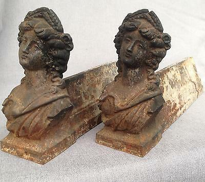 Antique pair of cast iron chenets France 19th century fireplace Art Nouveau