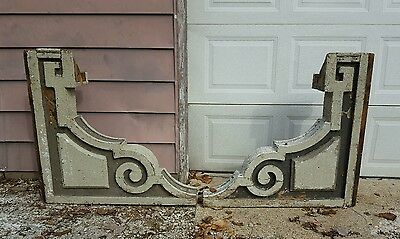HUGE Victorian Wood Corbels Pair Chippy Paint Architectural Antique Salvage