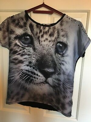 H &M Girls Animal Print Top With Sequins 12yrs