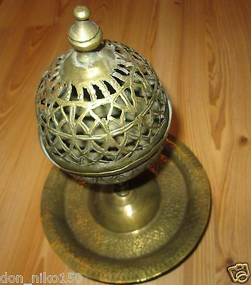 Antique Ottoman Islamic bronze vessel for fragrant oil with a stand,incense burn
