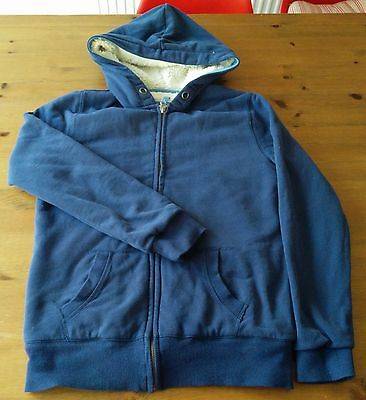 BODEN JOHNNIE B Blue Borg Lined Zip-Through Hoodie 13-14 Years Fleece Lined