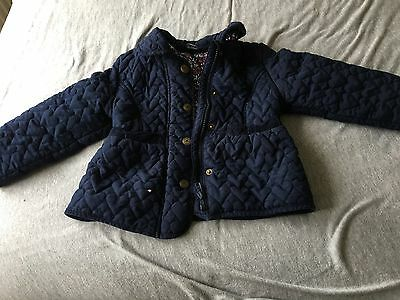Navy Heart Quilted Girls Coat Age 3-4 Years