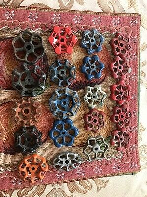 Lot 20 Vtg Metal Water Faucet Knobs Valve Handle STEAMPUNK Industrial Art