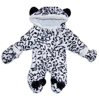 Baby Girls Faux Fur Snow Leopard Print Snowsuit / Pramsuit by Rock A Bye Baby