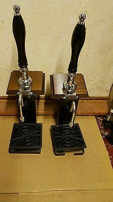 2x Beer Hand Pump Engine Home Bar Cask Ale Real And Plaques Tap Brass