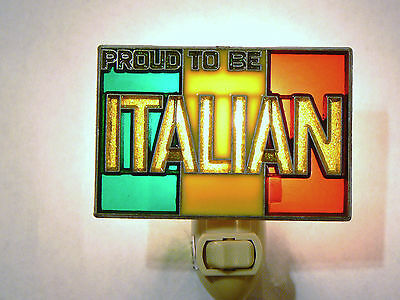 """Stained Glass Style  """"proud To Be Italian  """"  Night Light"""