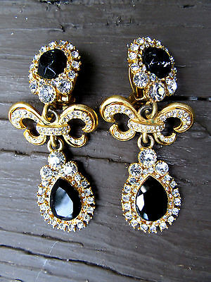 Vintage signed GIVENCHY Paris New York Gold Tone Rhinestone Drop Earrings