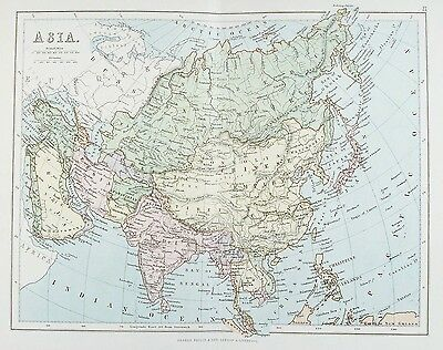OLD ANTIQUE MAP ASIA CHINA INDIA THAILAND JAPAN c1879 by G PHILIP PRINTED COLOUR