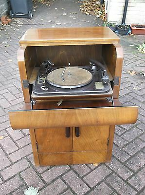 Plus-a-gram bow fronted vintage gramophone