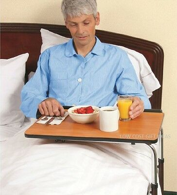 Hospital Bedside Table With Wheels Tilting Top Adjustable Height Over Bed Eating