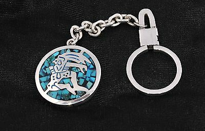Vintage Sterling Silver and Torquoise Inlay Keychain  32gm