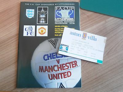 1996 FA CUP SEMI FINAL - MANCHESTER UNITED v CHELSEA  + TICKET STUB