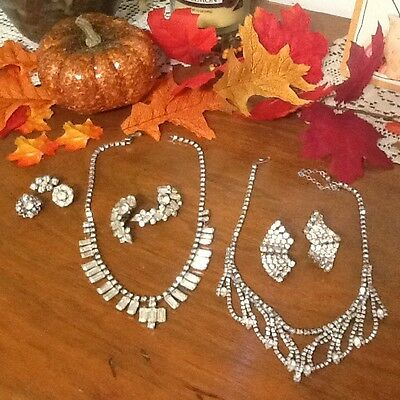 Gorgeous Vintage Rhinestone Necklaces, Earrings and Brooches