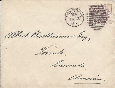 D 1837 UK QV 2 1/d lilac stamp on 1885 cover to Canada; neat