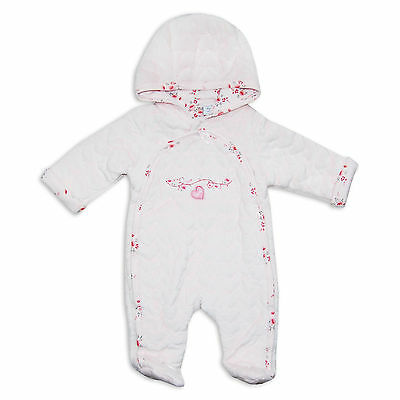 Baby Girls Velour Boutique Snowsuit/PramSuit in Pink With Flowers/Hearts Design