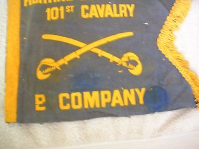 WWII Era Fighting Blue Devils 101st Cavalry flag with pin