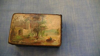 Antique Victorian Papier Mache Snuff Box With A Country Landscapr Picture Top