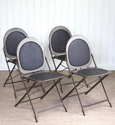 Set of 4 Vintage Industrial American Metal Folding Bistro Chairs Deco