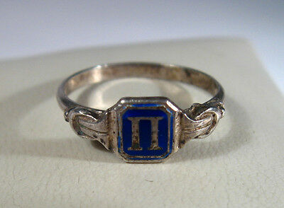 Vintage Silver Ring With Cyrillic Letter ''P'' Blue Enamel 19/20th Century  #921