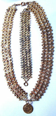 Vintage Gold Plated Necklace And Necklace 19 Century #104
