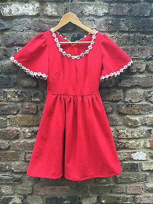 60s 70s RED dress DAISIES Embroidered flare sleeves skater mini retro lolita