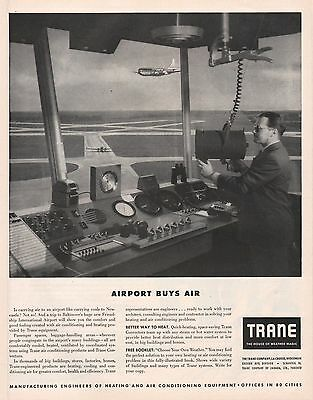 Vintage 1951 TRANE Air Conditioning Print Ad Great Air Traffic Controller Scene