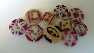 Antique China Stencil Buttons - LAVENDER - variety