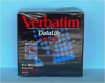 "Box of 10 Verbatim Datalife MF2-DD Floppy Disk 3,5"" 3 1/2"" 2S 2D"