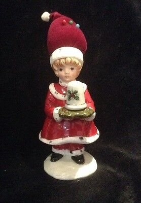 Vintage Christmas Porcelain Girl Pin Cushion Figurine Made In Japan with Thimble