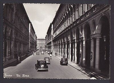 Cpa Turin Animee - Via Roma - Voitures Anciennes