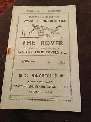 Featherstone Rovers v Huddersfield rugby league programme 31/3/59