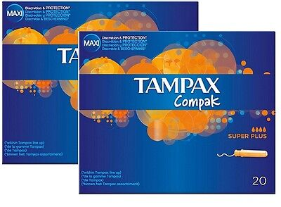 2 X Tampax Compak Applicator Tampons Super Plus (20) FREE DELIVERY