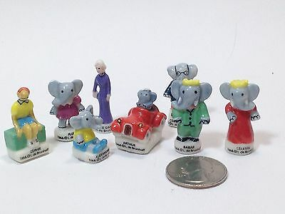 BABAR Set of 8 Miniature Figurines French Porcelain FEVES Cake Toppers