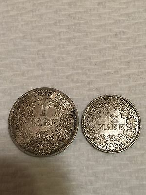 1914 Germany 1 And 1/2 Mark Two Silver Coins.