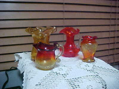 4 Piece Lot Of Crackle Glass Great For Starting Crackle Glass Collection Pitcher