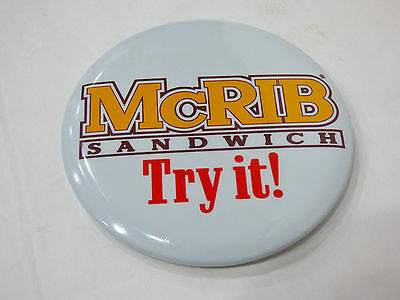 Vintage 1980's McDonald's Employee MCRIB SANDWICH TRY IT! Pinback Badge Mint