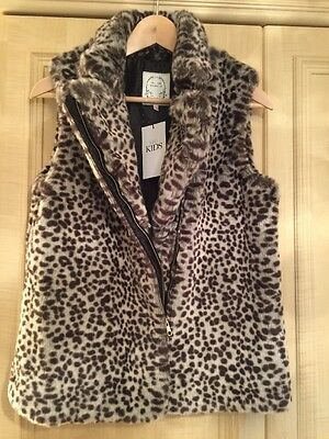 BNWT M&S Girls Grey Leopard Print Gilet Size 13 - 14 Years ( Adult Size 6 UK)