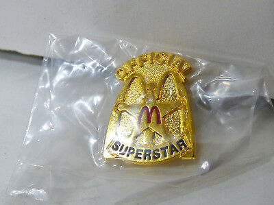 Vintage 1980's McDonald's Employee OFFICIAL SUPERSTAR Gold Pinback Badge Pin