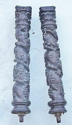 PAIR OF ANTIQUE 17th Century STYLE CARVED OAK COLUMN