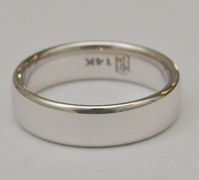 Solid 14K White Gold Plain Wedding Band 6.5 mm Ring 10.4 Grams Size 12