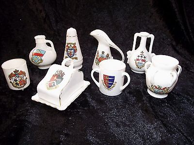 8 Vintage Crested China crest Ware Pieces / Gemma Goss Swan