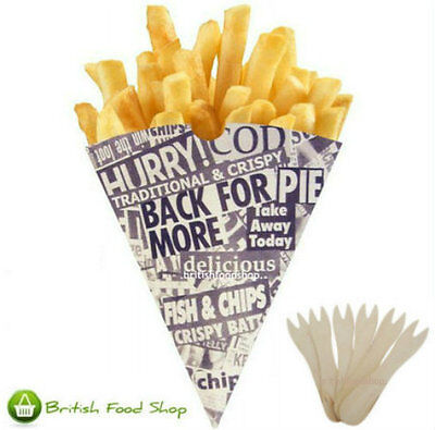 200 News Print Chip Shop Cones + 200 Wooden Forks - Party BBQ Catering TRACKED!